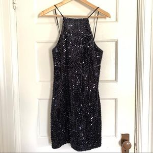Express Navy Sequined Low Back Mini Dress